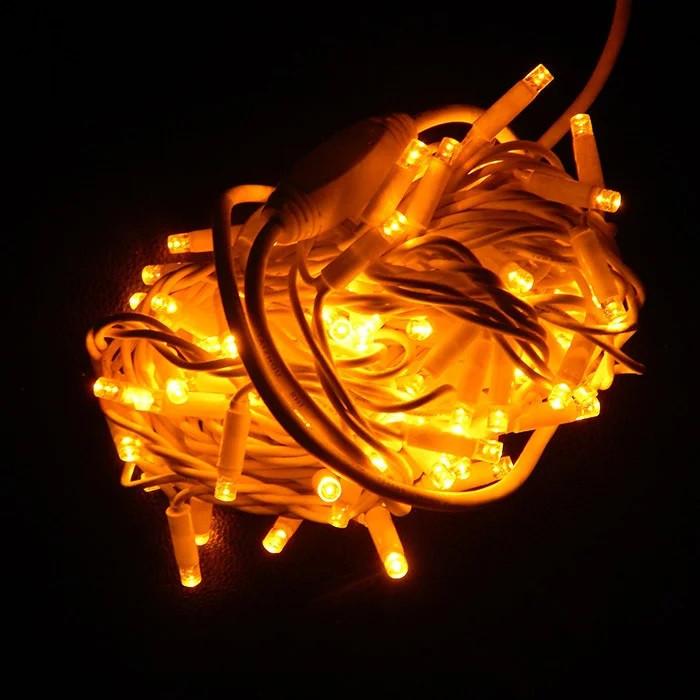 УЛИЧНАЯ ГИРЛЯНДА STRING (НИТЬ) 100 LED,10 МЕТРОВ, БЕЛЫЙ ПРОВОД, ЦВЕТ ЖЕЛТЫЙ