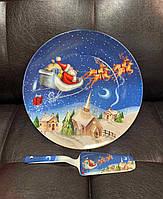 Тортовница фарфоровая с лопаткой Новогодняя ночь 26 см 924-643