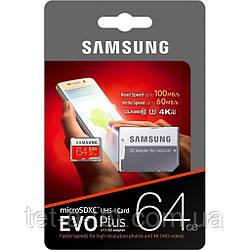Карта памяти Samsung EVO Plus V2 microSDXC UHS-I 64GB сlass10