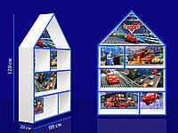 """Полка-домик большая """"Тачки"""" с синей кромкой из древесины сосны и ДСП окрашенная акриловой краской"""