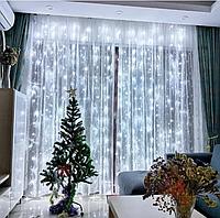 Гирлянда новогодняя штора Роса светодиодная паутинка холодный белый 3*3м, 320 ламп, штора| Оригинал