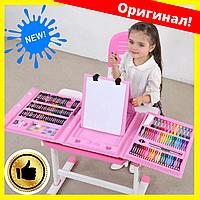 Детский раскладной художественный набор для рисования в чемоданчике с мольбертом на 208 предметов розовый