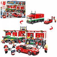 Конструктор Лего Гоночные машины и Пит-стоп аналог, Qman 4204Q, 1095 деталей
