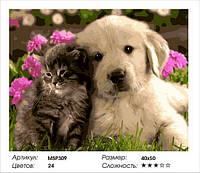 """Набір для малювання за номерами """"Кошеня і цуценя"""" 40х50 см"""
