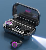 Беспроводные сенсорные наушники Bluetooth с микрофоном в кейсе с павербанком с фонариком Amoi TWS-M12