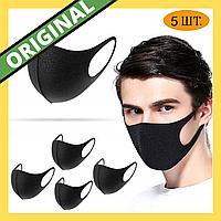 Набор 5 шт Многоразовая маска Питта Черный  ОРИГИНАЛ