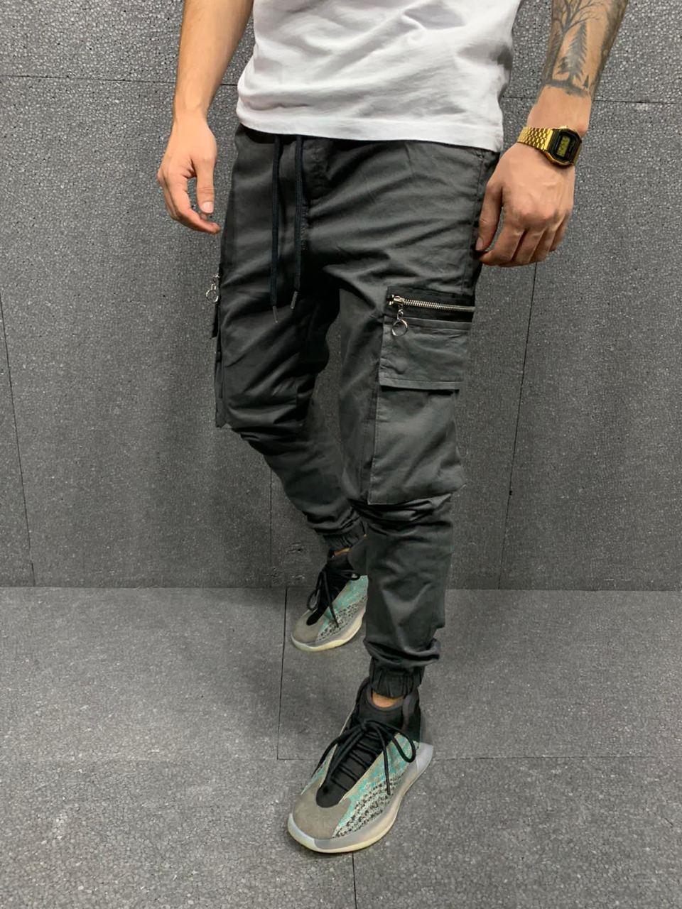 Джинсы - мужские серые джинсы с карманами карго