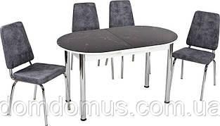 Стол стеклянный черный  мрамор  (стол ДСП, каленное стекло) Лидер,  Турция