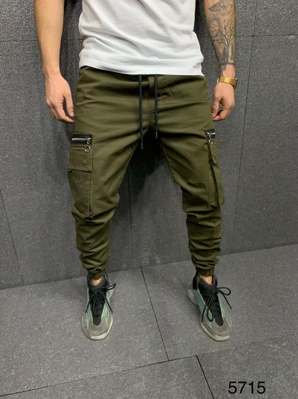 Джинсы - мужские джинсы с карманами карго хаки