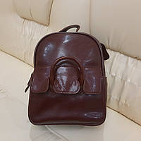 Небольшой городской женский рюкзак мини из натуральной кожи Brown