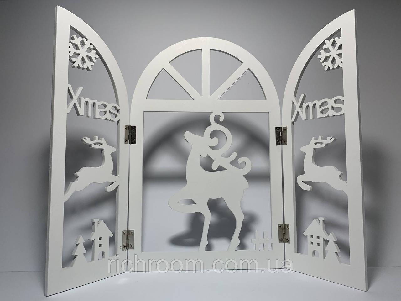 """Рождественское украшение окна ширма """"Merry Xmas"""" с оленями EDEKA"""