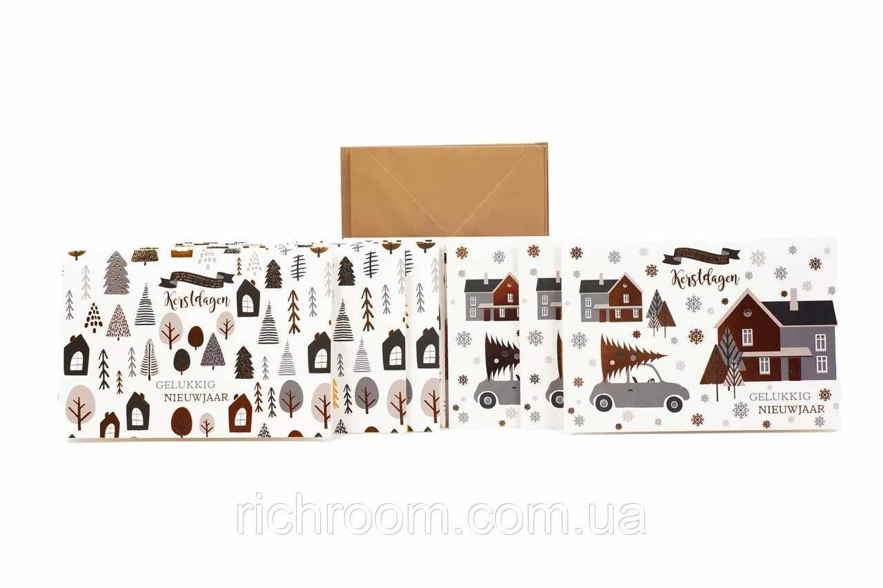 Новогодние открытки с конвертами, 10 шт. Christmas gifts