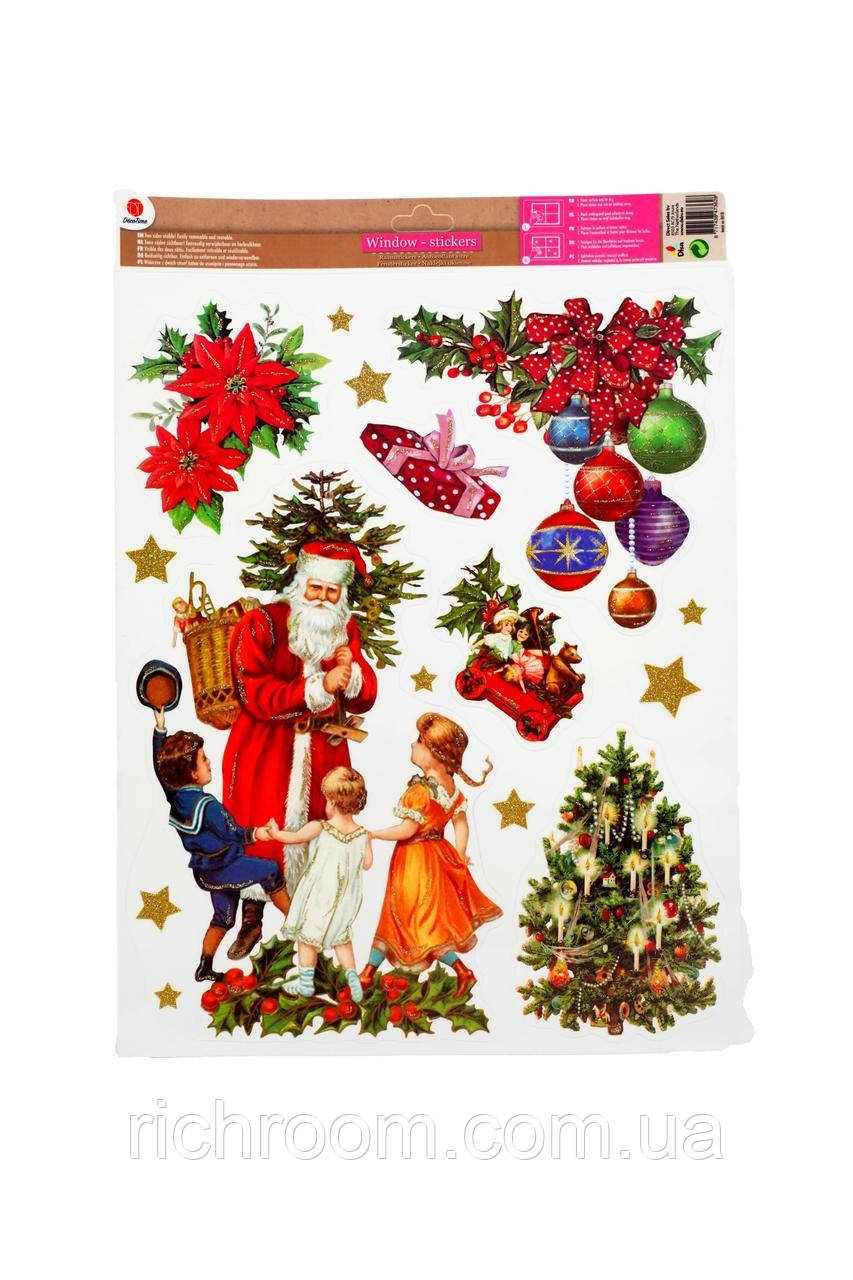Новогодние наклейки для окон Дух Рождества двухсторонние многоразовые Deco Time