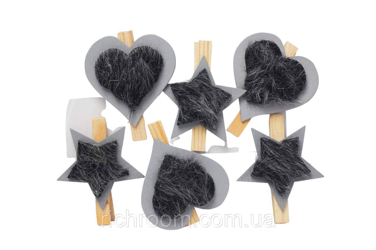 Декоративные деревянные прищепки с искуственным мехом 6 шт Cloverleaf