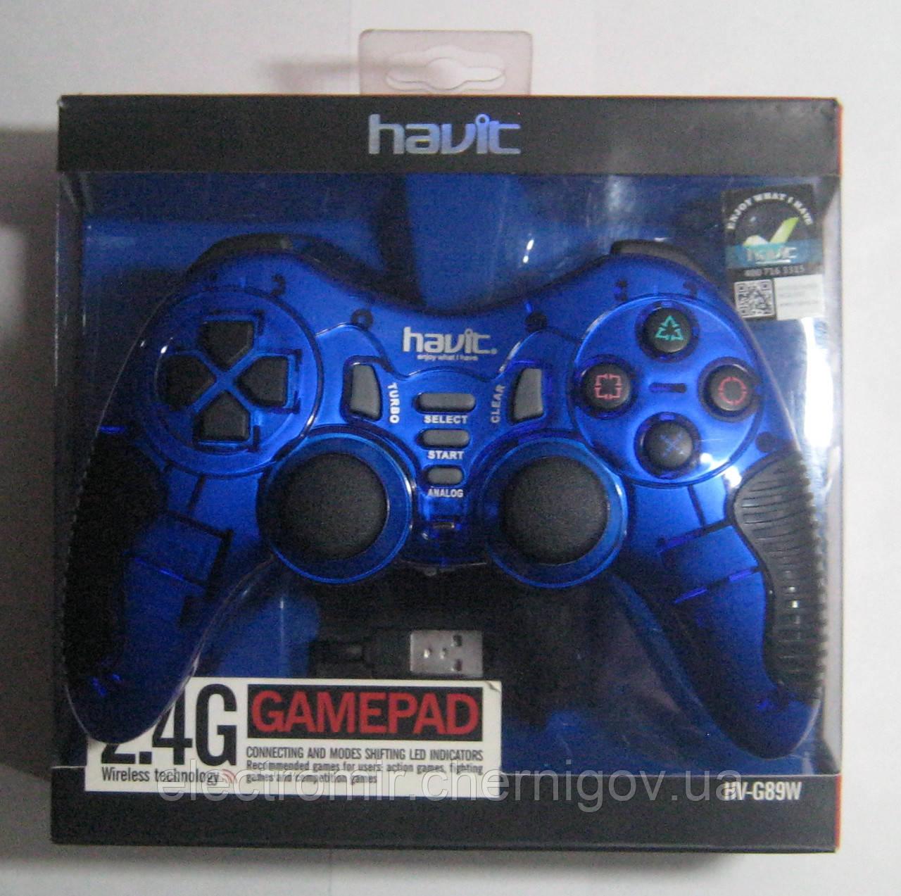 Геймпад компьютерный беспроводной Havit HV-G89W USB+PS2+PS3 (синий)