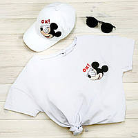 Футболка женская + кепка белая с принтом Mickey Mouse Ox микки маус