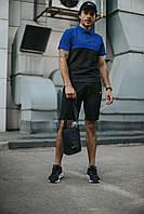 Костюм Футболка Поло черная-синяя + Шорты + Кепка Черная(С Белым Логотипом). Барсетка в подарок! Nike (Найк)