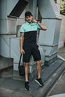 Костюм Футболка Поло черная-бирюза + Шорты + Кепка Черная(С Черны Логотипом). Барсетка в подарок! Nike (Найк)