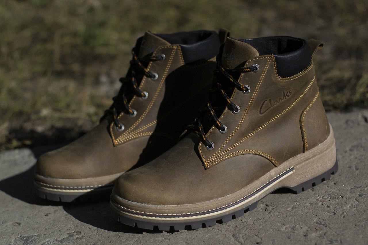 Ботинки Clarks мужские зимние, очень теплые, натуральный мех и кожа (коричневые)