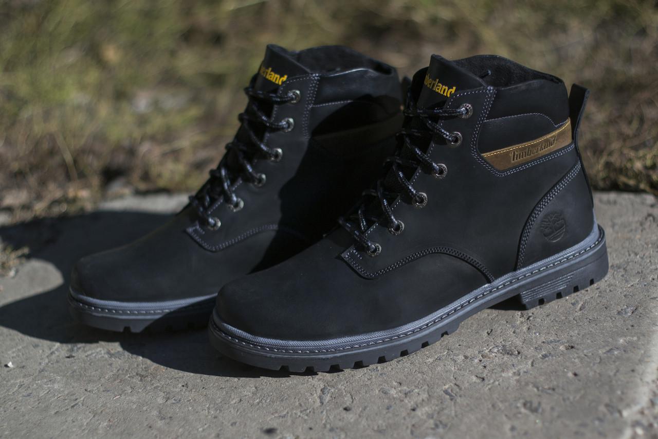 Ботинки Timberland мужские зимние, очень теплые, натуральный мех и кожа (черные)