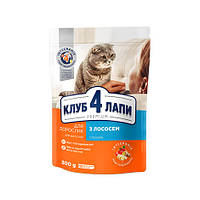 Корм КЛУБ 4 ЛАПЫ PREMIUM с лососем для кошек, 14 кг kt174