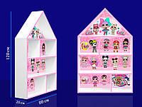 """Полка-домик большая """"Куколки LOL"""" с розовой кромкой из древесины сосны и ДСП окрашенная акриловой краской"""