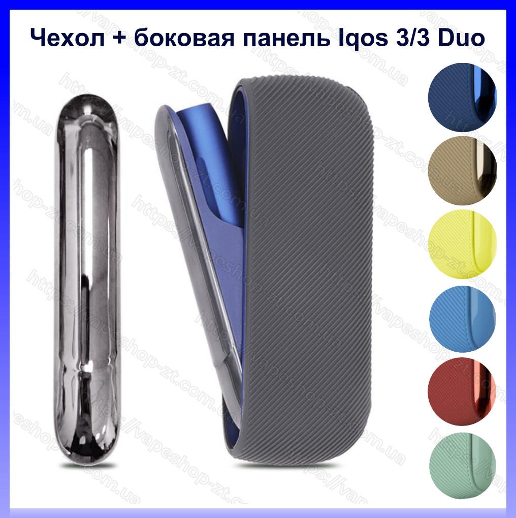 Силиконовый чехол + боковая панель черный для Iqos 3/ Iqos 3 Duo. Чехол и боковая панель для айкос 3 дуо