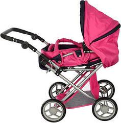 Детская игрушечная коляска для кукол Melogo черно-розовая (9346W)