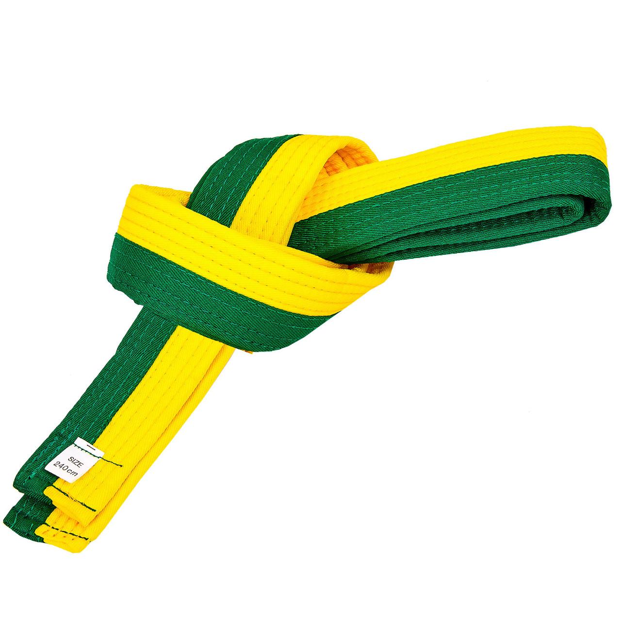 Пояс для кимоно двухцветный желто-зеленый SP-Planeta BO-7256, 260 см
