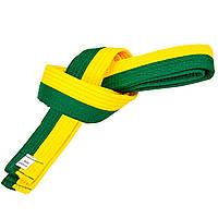 Пояс для кимоно двухцветный желто-зеленый SP-Planeta BO-7256, 260 см, фото 1