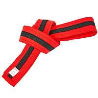 Пояс для кимоно двухцветный красно-черно-красный BO-7265, 220 см, фото 1