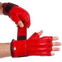 Снарядные перчатки шингарты кожаные с манжетом на липучке ZELART красные ZB-4011, фото 1