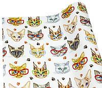 Бумага для упаковки подарков(модные коты -10листов)