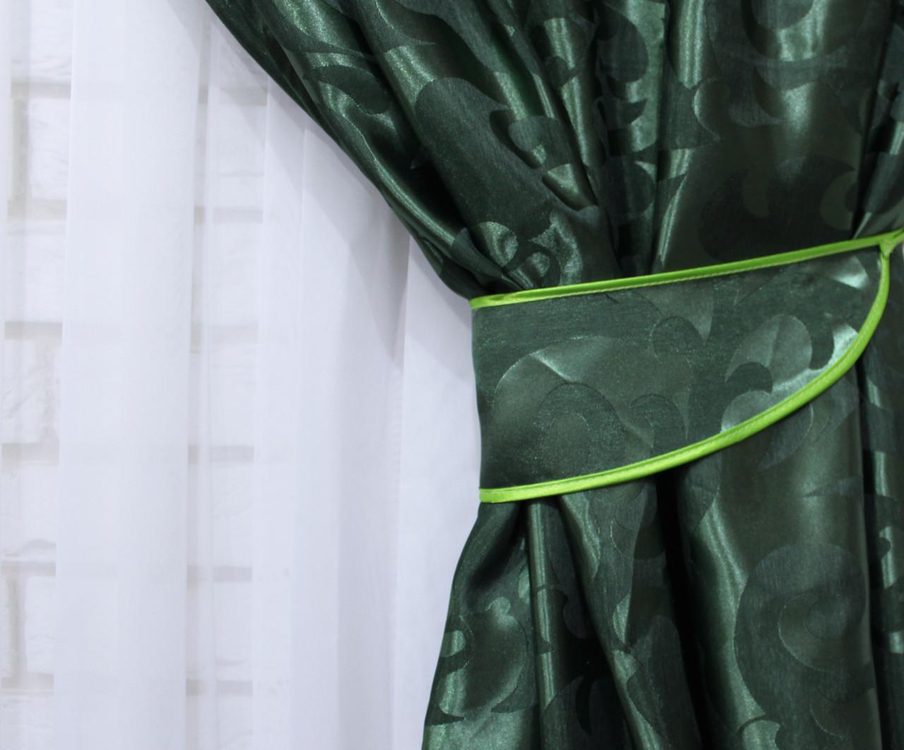 """Щільна тканина жаккард """"Вензель"""". Висота 2,8 м. Колір зелений. 477ш"""