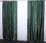 """Щільна тканина жаккард """"Вензель"""". Висота 2,8 м. Колір зелений. 477ш, фото 3"""