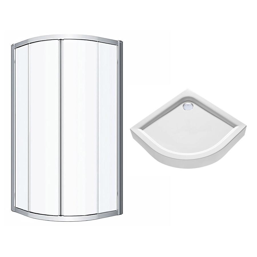 Комплект: GEO кабина полукруглая 90*90 см, прозрачное стекло + FIRST поддон полукруглый 90см (пол.)