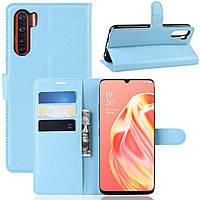 Чехол-книжка Litchie Wallet для Oppo Reno 3 / A91 Blue
