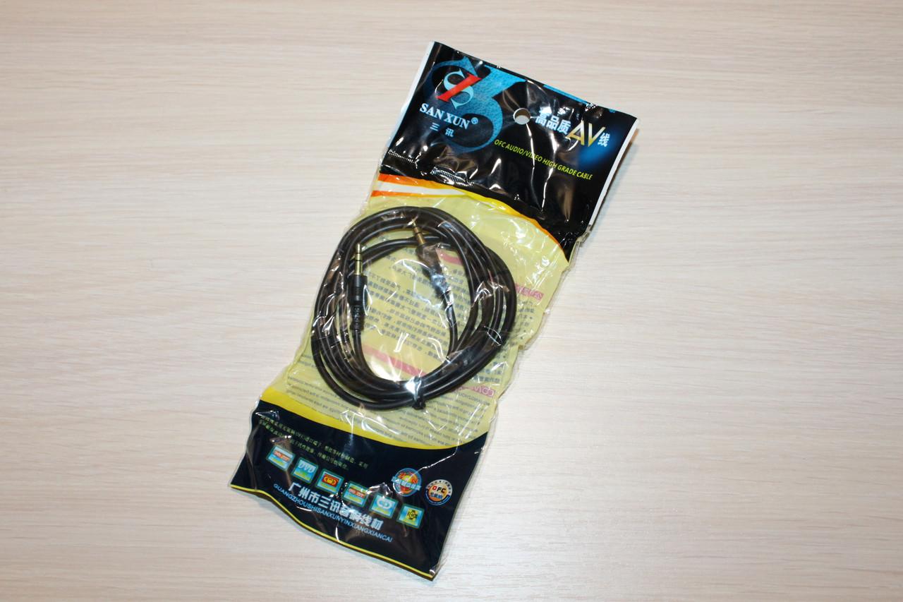 Аудио кабель AUX чёрный 1.5м (в упаковке)