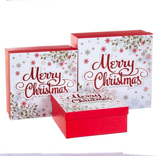 """Набор из 3 коробок """"Merry Christmas"""" белый 28*28*11 (8211-008)"""