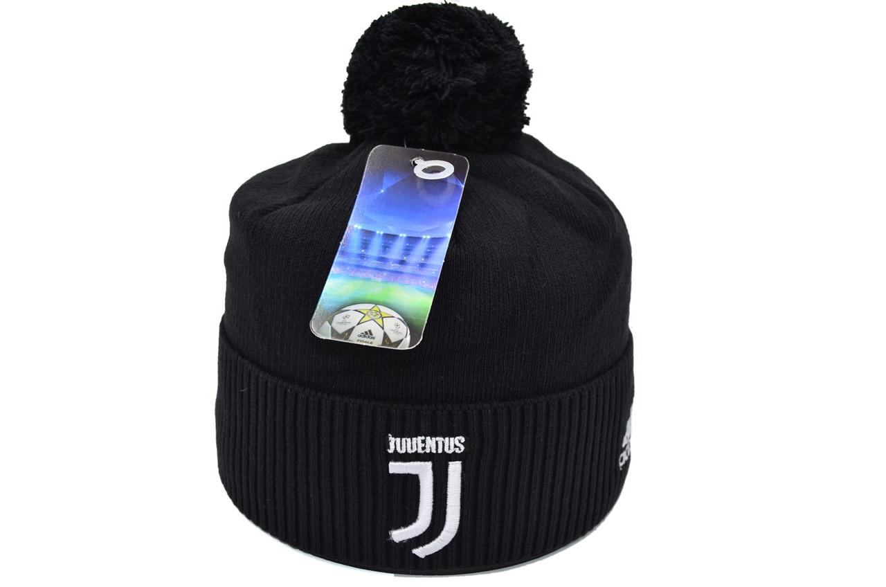 Шапка з помпоном Flexfit FC Juventus 53-57 см Чёрная (F-0918-142)