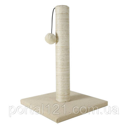 Когтеточка AnimAll з бубоном для кішок, джут, біла, 24х24х37 см
