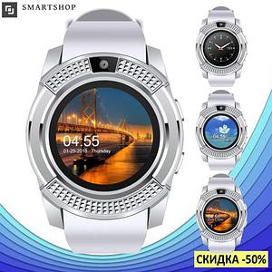 Умные часы Smart Watch V8 сенсорные - смарт часы Белые