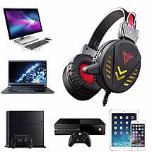 Ігрові навушники A1 зі світлодіодним підсвічуванням і мікрофоном - провідні комп'ютерні навушники USB, AUX, чорні, фото 3
