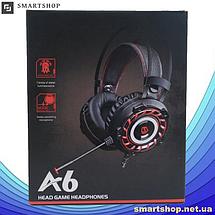 Игровые наушники A6 со светодиодной подсветкой и микрофоном - проводные компьютерные наушники USB, AUX, черные, фото 3