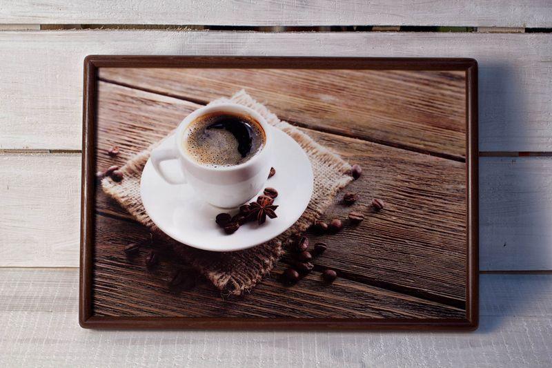 Поднос на подушке BST 46*32 коричневый кофе на салфетке