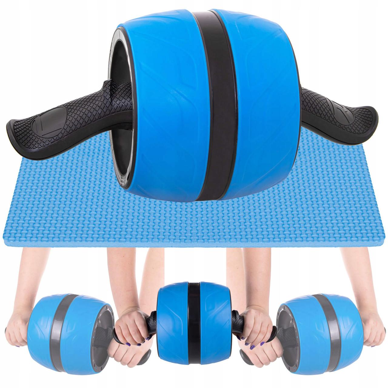 Ролик (колесо) для мышц пресса (живота) с возвратным механизмом Springos AB Wheel FA5000 синий
