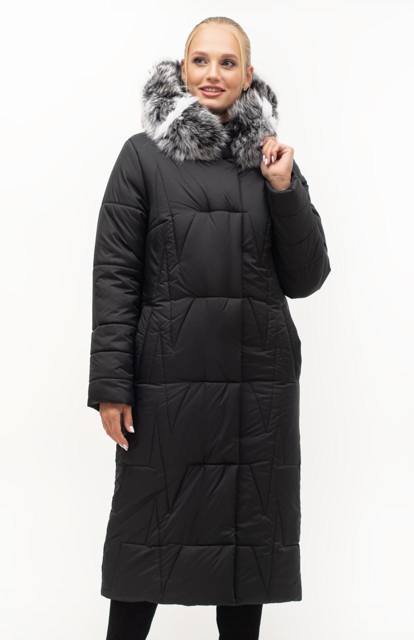 Зимний женский пуховик с мехом, размеры 46- 56