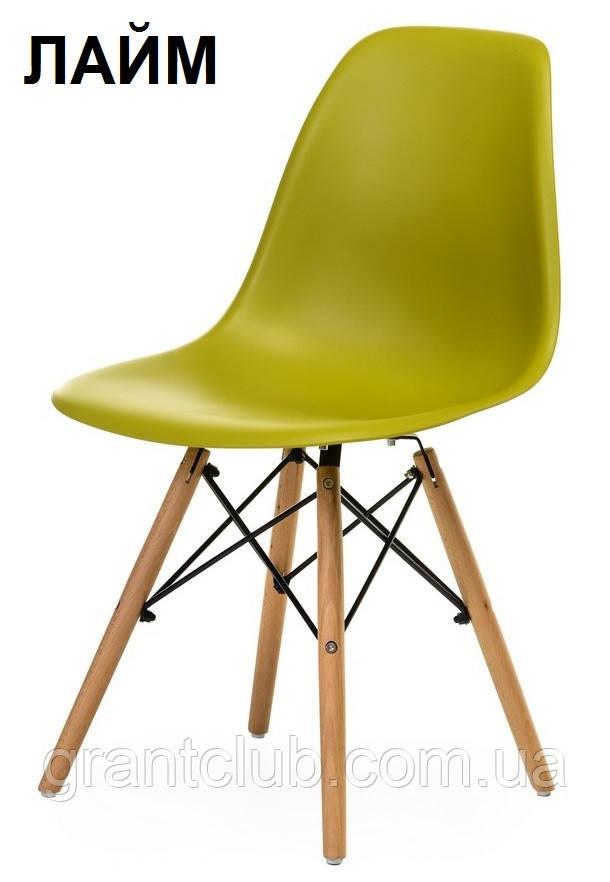 Пластиковый стул на буковых ножках M-05 лайм Vetro Mebel (бесплатная доставка)