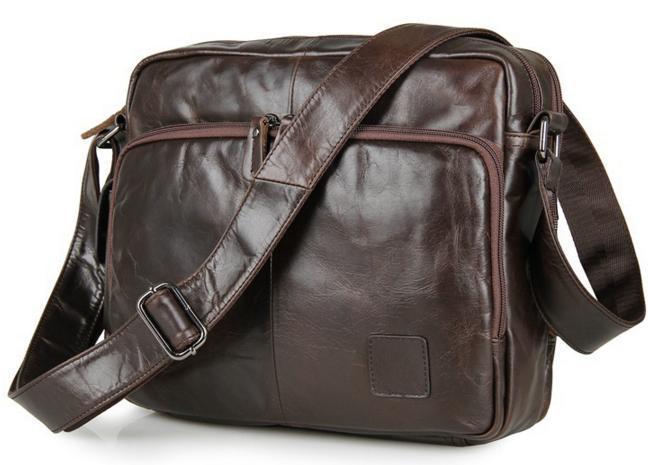 Мужской мессенджер натуральная кожа три отдела TIDING BAG 7332C