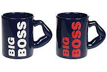 Кружка керамическая Big Boss, 350мл, 2 вида, цвет - темно-синий BonaDi 593-152